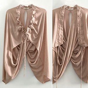 Trinity draped batwing shrug/cardigan, dusty pink